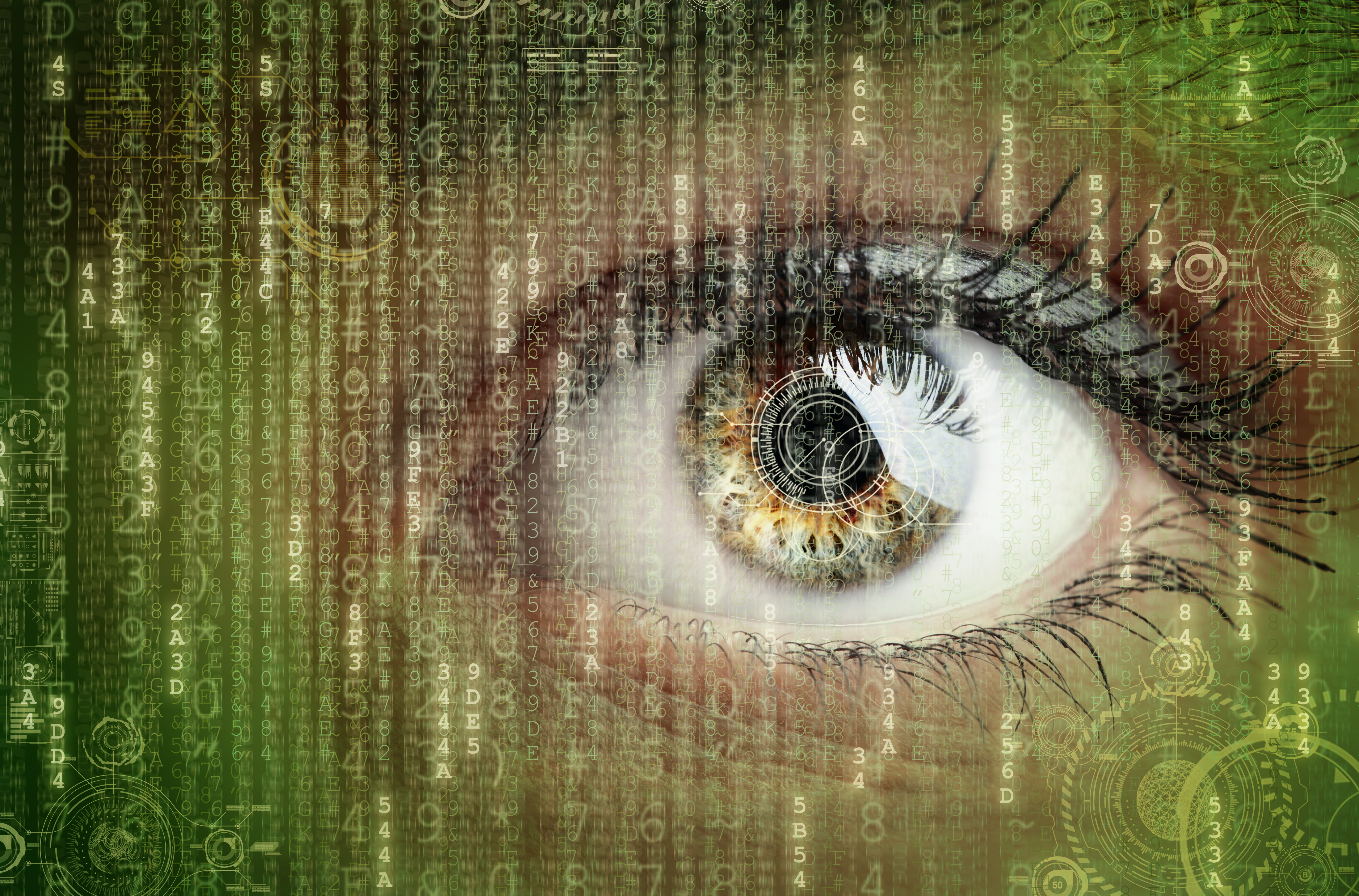 Womans eye with futuristic digital data around it