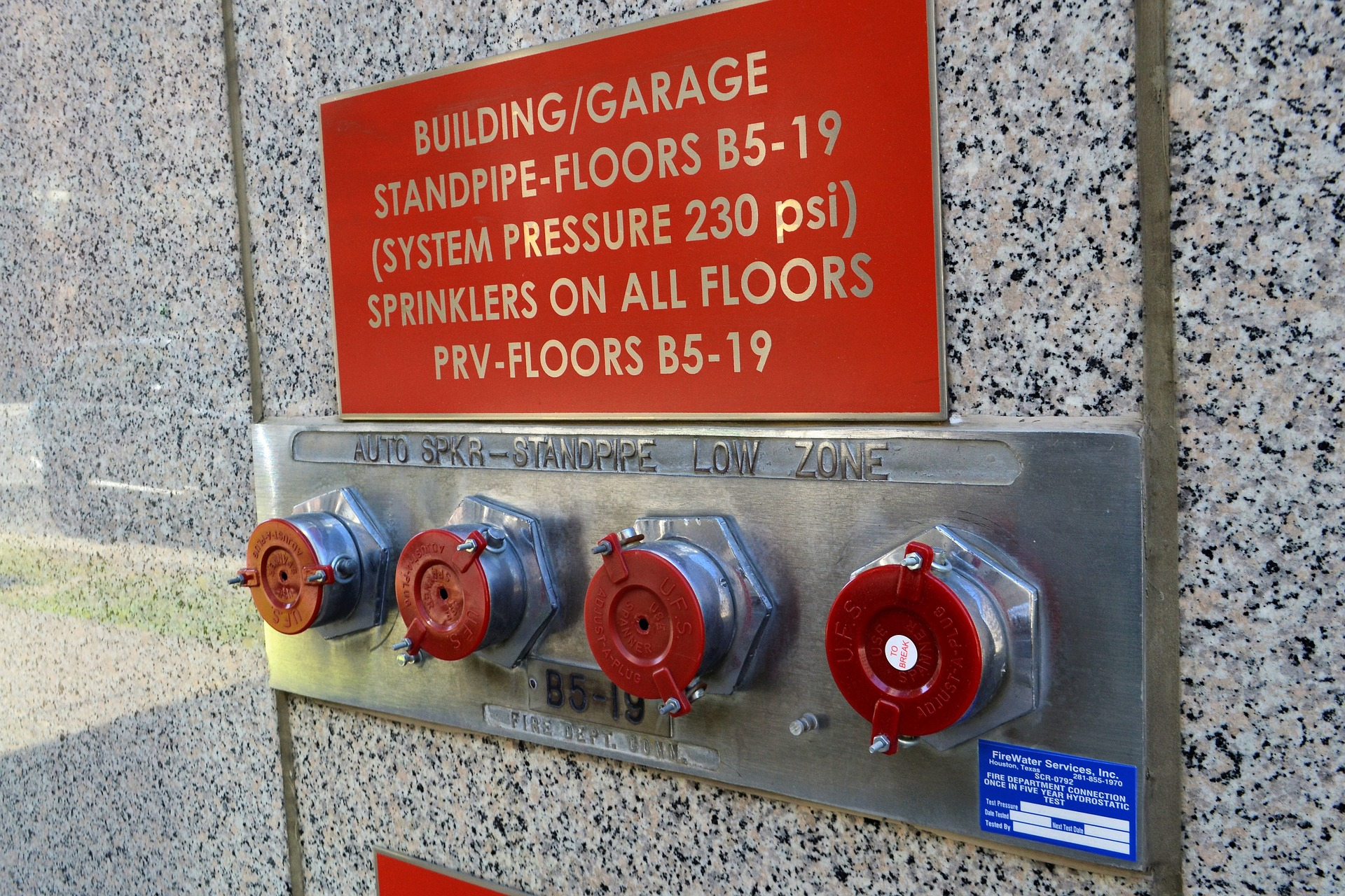 sprinkler valves outside building for ISO Inspection