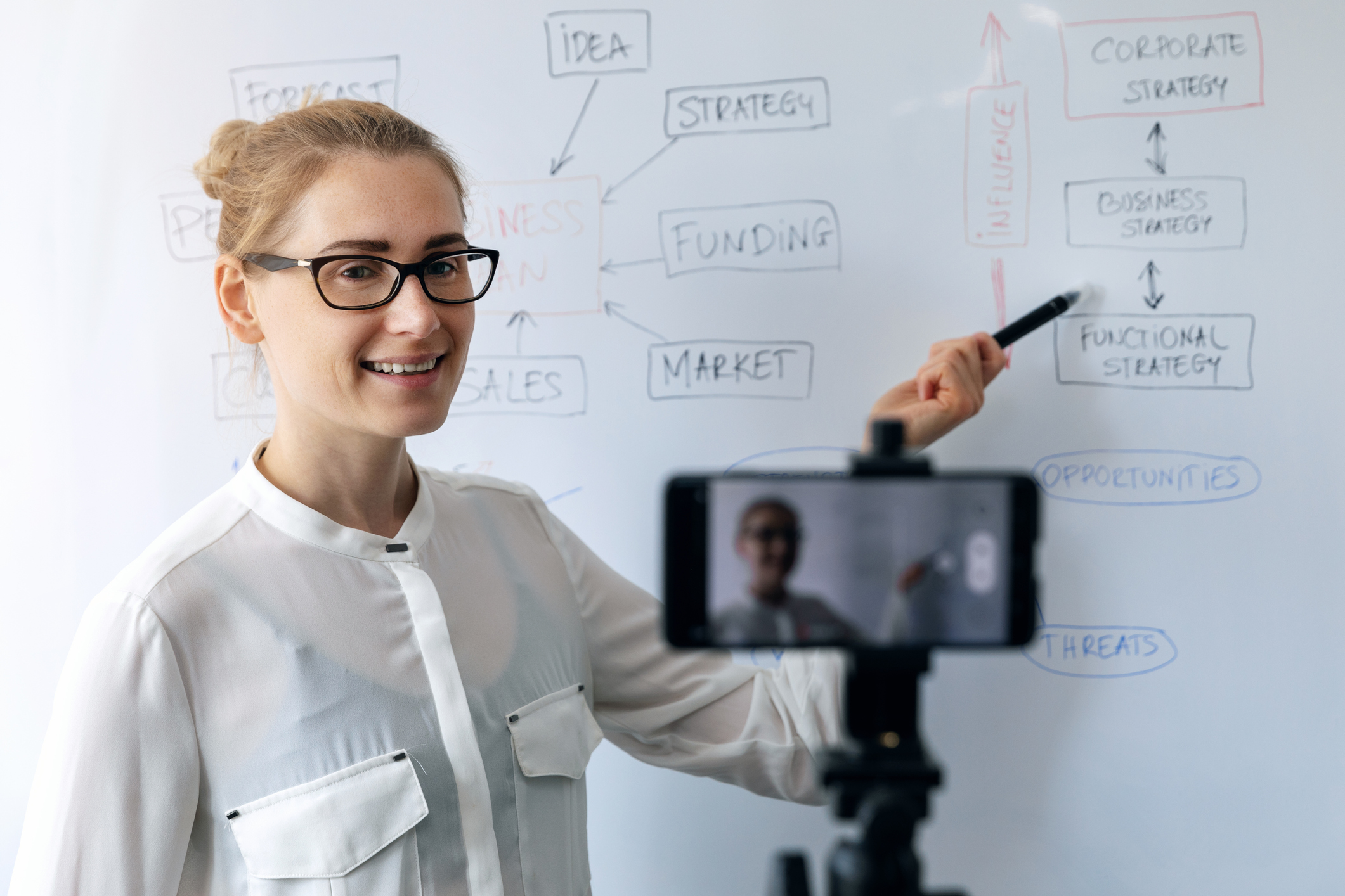 woman pointing to whiteboard while on camera for leveraging whiteboards concept
